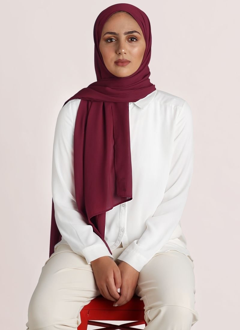 comprar online hijab georgette color granate